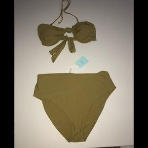 Cupshe green high waist bikini new nwt xl swim